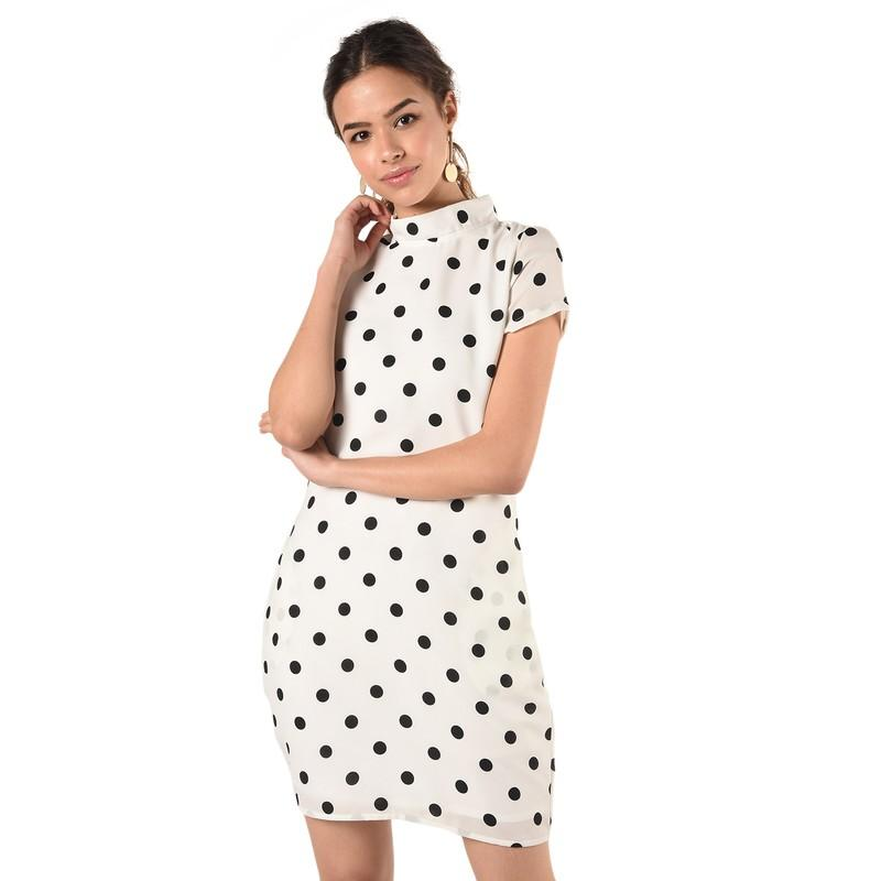 Mock Neck Polka Dot Sheath Dress