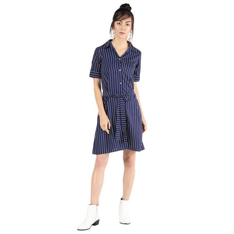 Tie Front Striped A-Line Dress