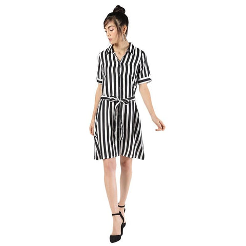 Tie Front Striped Belted Dress