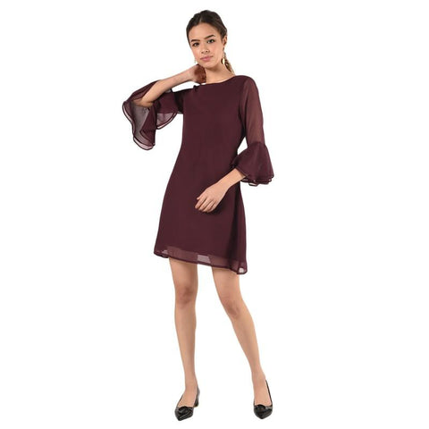 Bell Sleeved Wine A-Line Dress