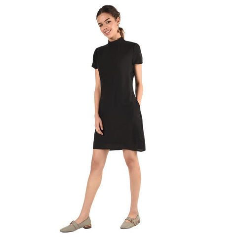 Mock Neck Classic Black Sheath Dress