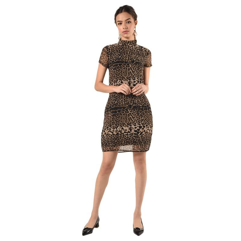 Mock Neck Animal Print Sheath Dress