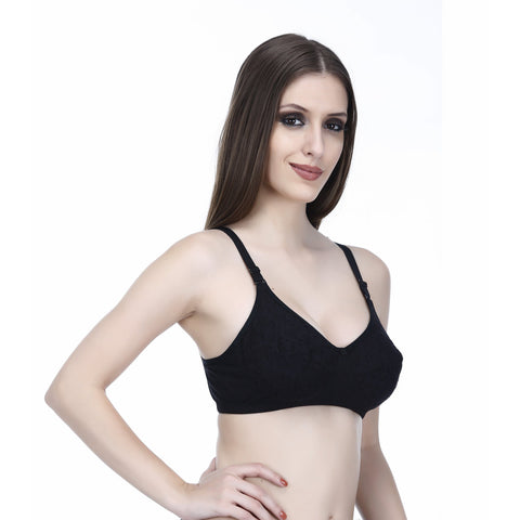 Viral Girl Women's Black Colour Cotton Hosiery Bra(Set Of 1)
