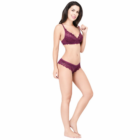 Viral Girl Women's Purple Cotton Hosiery Bra(Set Of 1)
