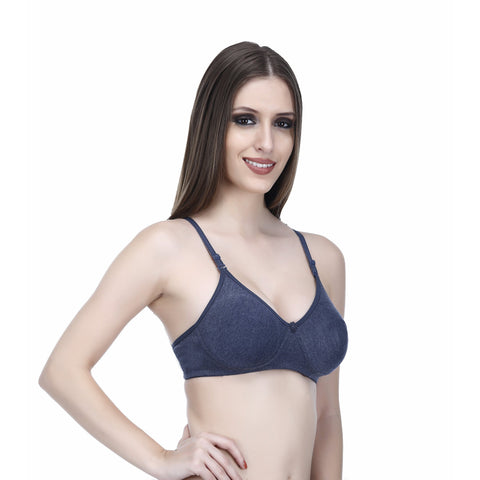 Viral Girl Women's Grey Cotton Hosiery  Lightyl Padded Bra(Set Of 1)