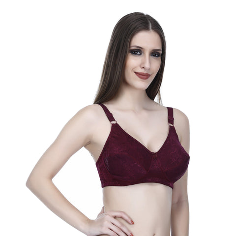 Viral Girl Women's Maroon Cotton Hosiery Bra(Set Of 1)