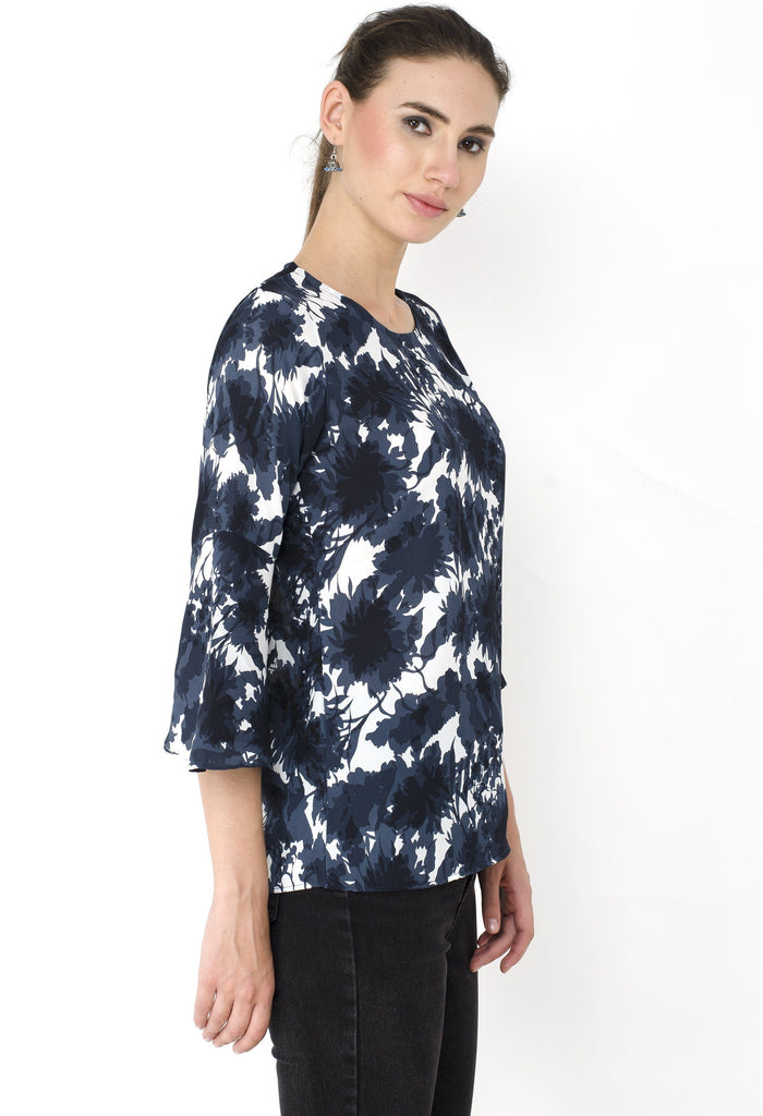 Blue Printed Crepe Top