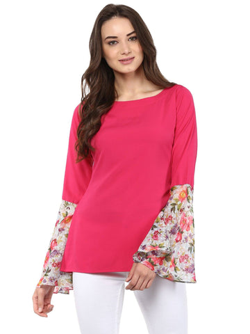 Pink Top with Exaggerated Floral Sleeves