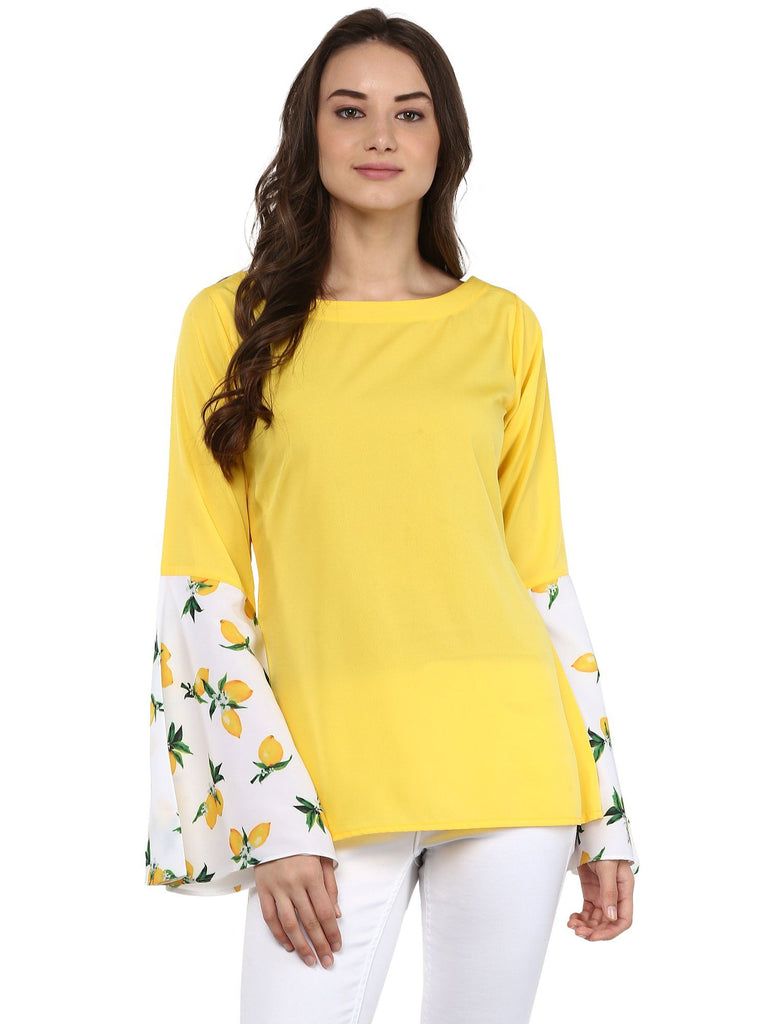 Yellow Top with Exaggerated Lemon Print Sleeves