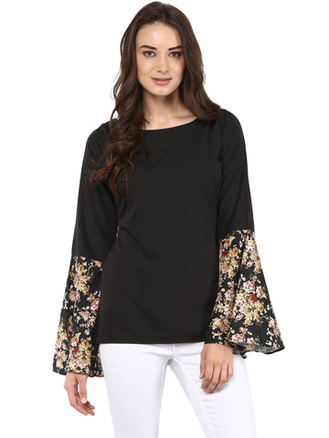 Black Top with Exaggerated Vintage Floral Sleeves