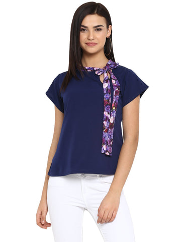 Rosah Women's Navy Blue Crepe Straight Top