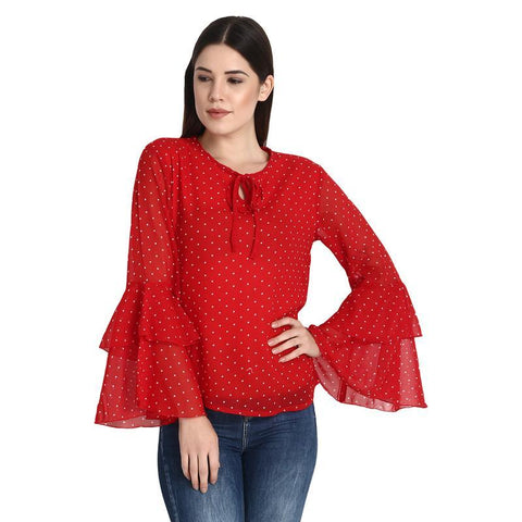 Red With White Dotted Bell Sleeves Top