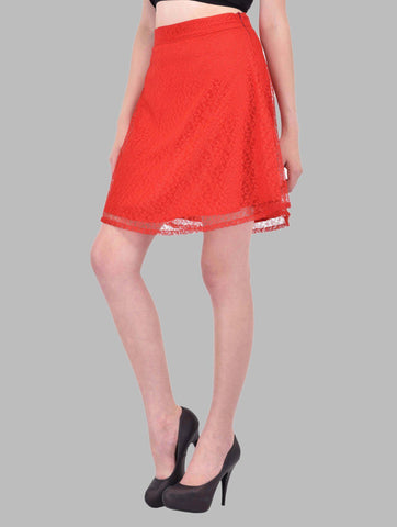Red Floral Lace Aline Skirt