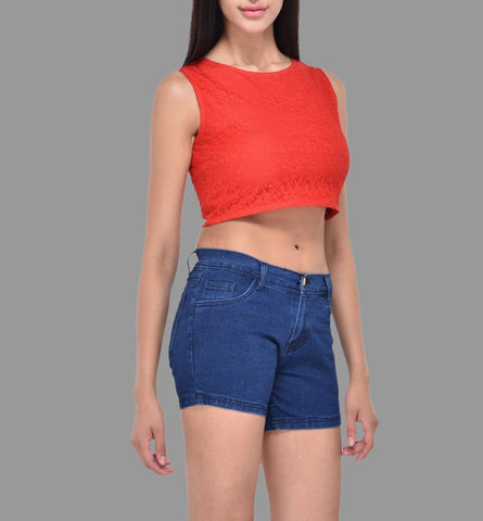 Red Floral Lace Crop Top