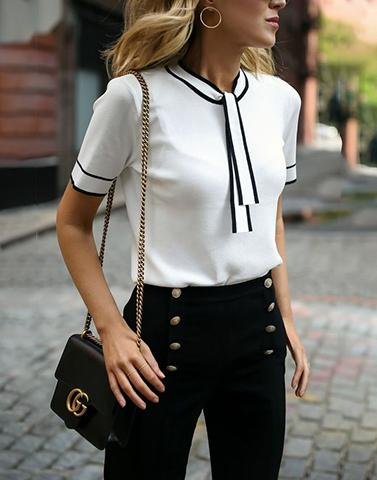 Late Again White Tie Neck Top