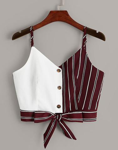 Colorblock Maroon White Crop Top