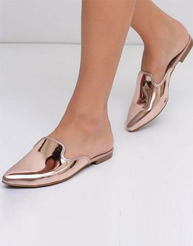 Worth The Walk Shiny Rose Gold Flats