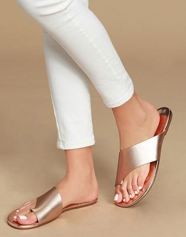Rose Shimmer Toe Ring Flats