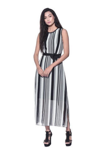 Stripe Georgette Maxi Dress