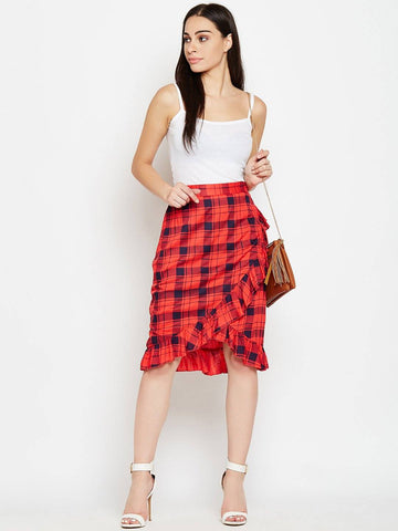 Red Check Print Frill Skirt