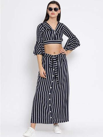 Navy And White Striped Skirt Top Set