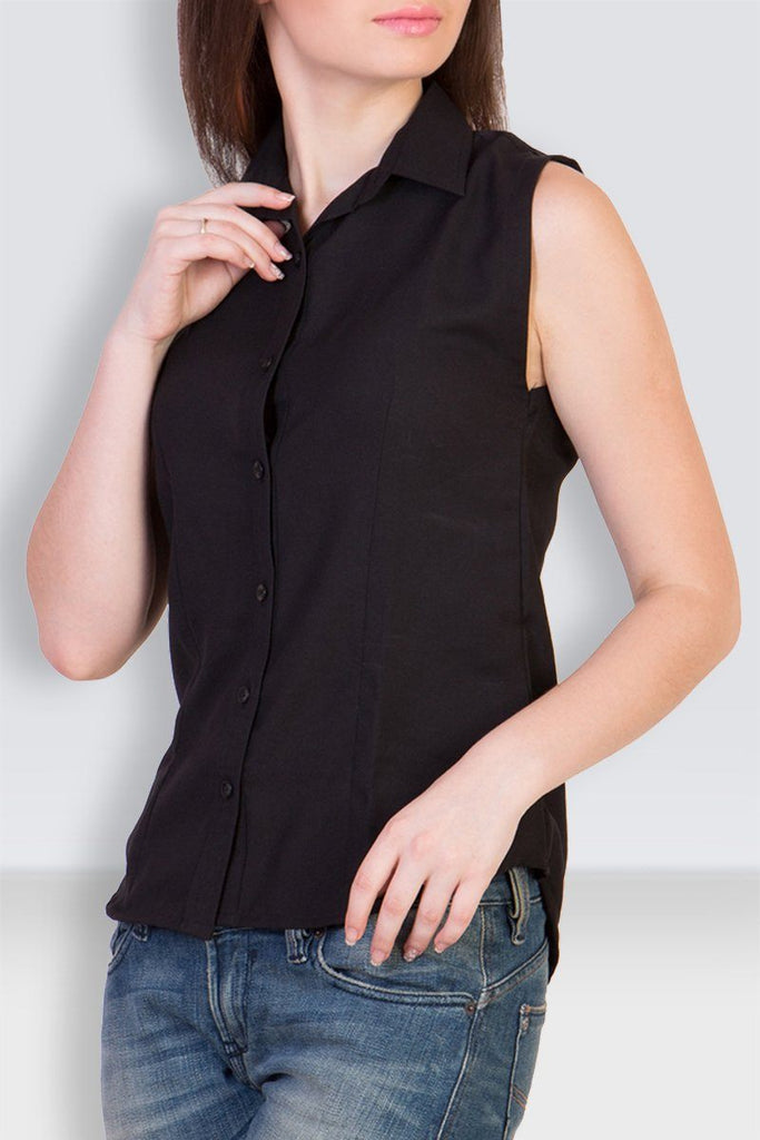 Cut-Sleeve Black Shirt