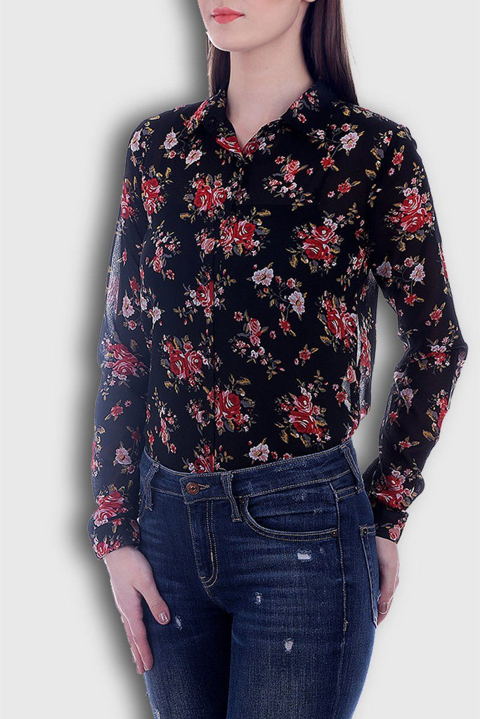 Floral Attractive Black Shirt