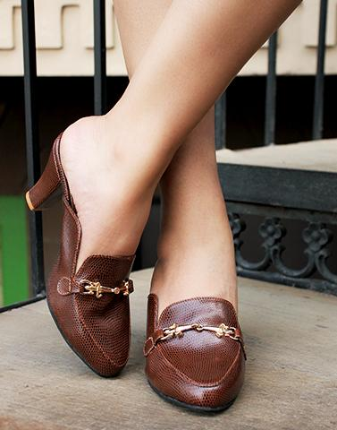 Wood Brown Slip On Heels