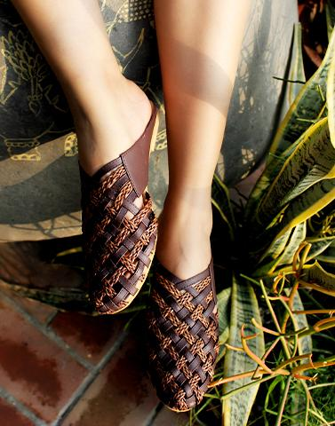 Choco Checkered Flats