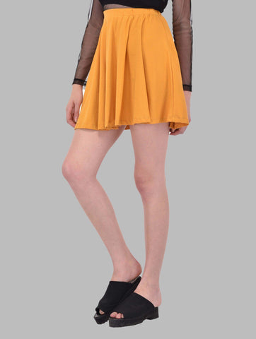 Solid Mustard Yellow Flare Skirt