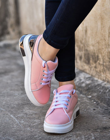 Sturdy Pink Metallic Sneakers