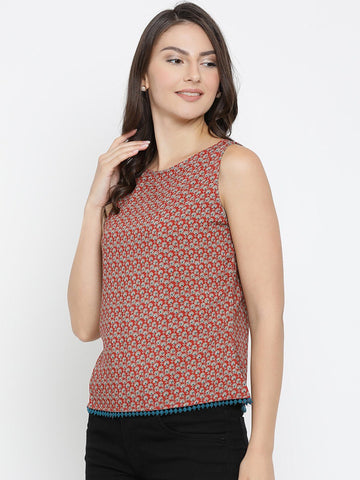 Rayon Printed Red Top