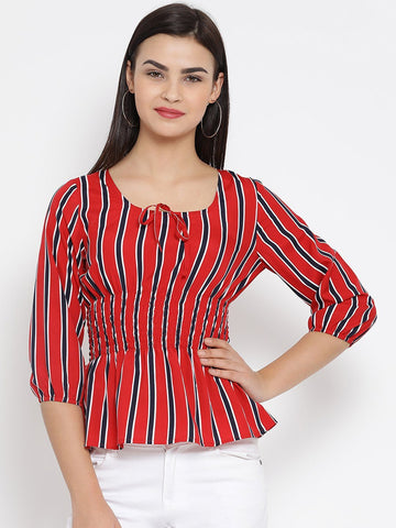 Red And Black Striped Woven Cinched Waist Top
