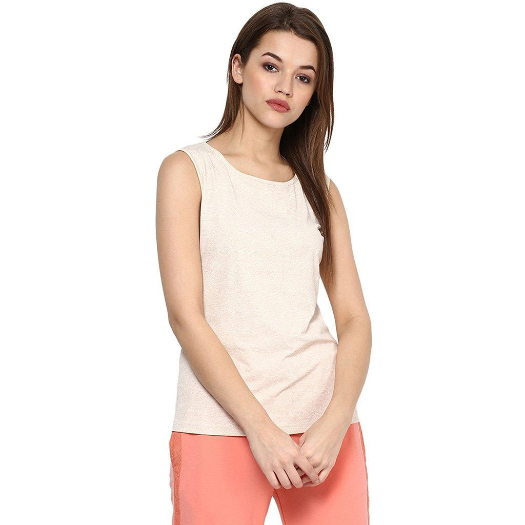 Beige Cotton Lycra Top