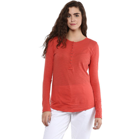 Coral Red Solid T-shirt