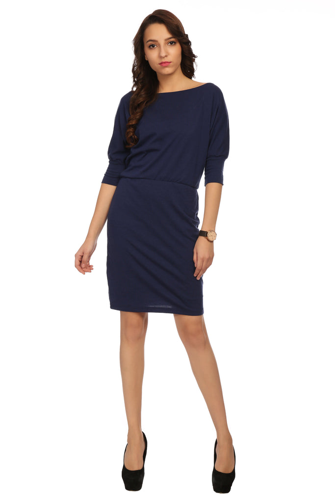 Boat Neck Plain Dress