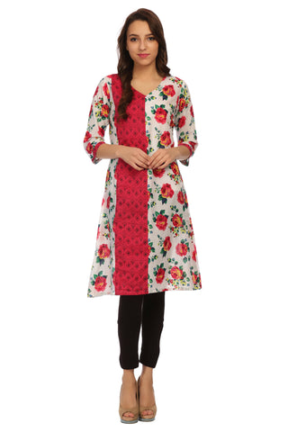 Multicolor V Neck Floral Kurta