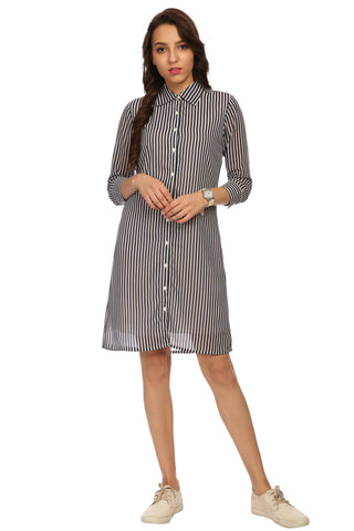 Collar Neck Striped Shirt Dress