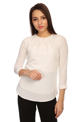 Round Neck Novelty Solid Top