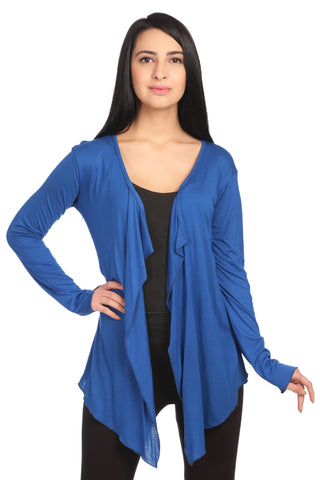 Blue Viscose Solid Shrug