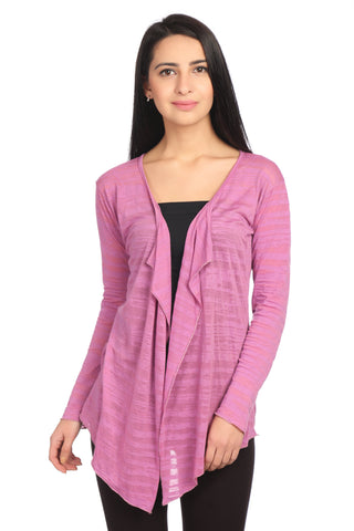 Pink Full Sleeve Self Shrug