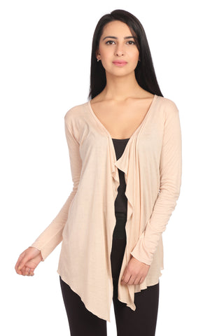 Cream Viscose Solid Shrug