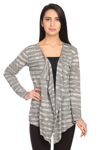 Striped Full Sleeve Shrug