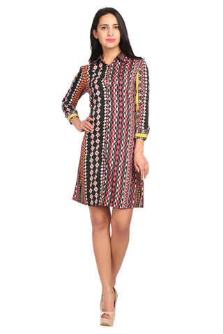 Collar Neck Shirt Printed Dress