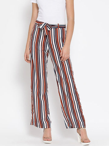 Multicoloured Striped Mid-Rise Culottes