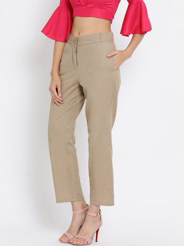 Beige Solid High-Rise Regular Trousers