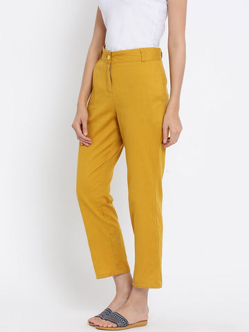 Mustard Solid High-Rise Regular Trousers