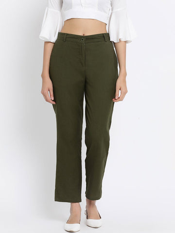 Olive Solid High-Rise Regular Trousers