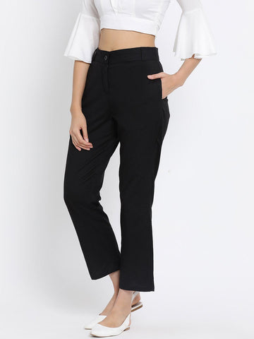 Black Solid High-Rise Regular Trousers