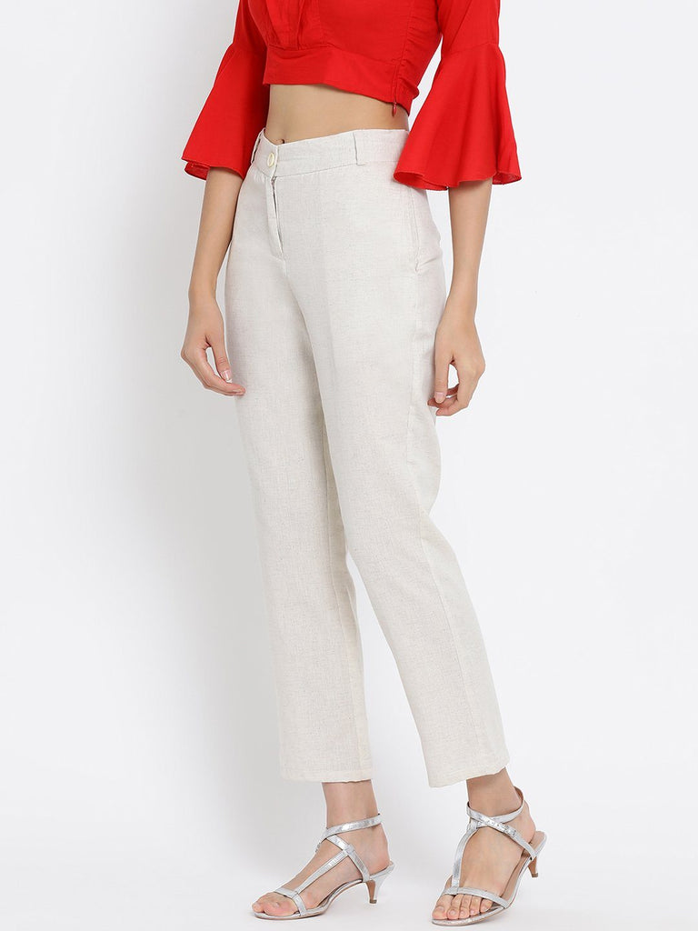 Off White Solid High-Rise Regular Trousers